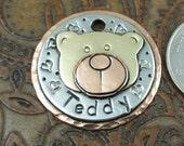 Dog ID Tag Teddy Bear Head-Custom Dog Collar ID Tag-Pet ID Tag-Dog Tag for Dogs-Teddy Bear Head Tag