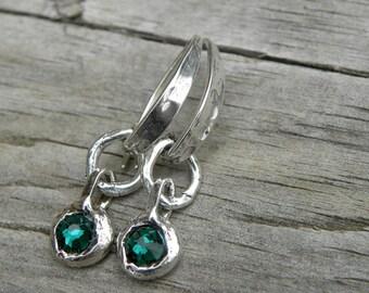 Artisan Sterling Silver Emerald Swarovski Crystal Earrings Handcrafted Textured Organic Urban Modern Rustic Unique OOAK