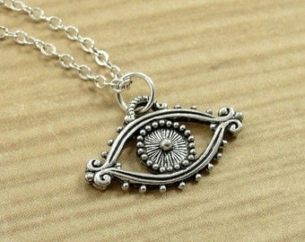 Evil Eye Necklace, Silver Evil Eye Charm on a Gold Cable Chain