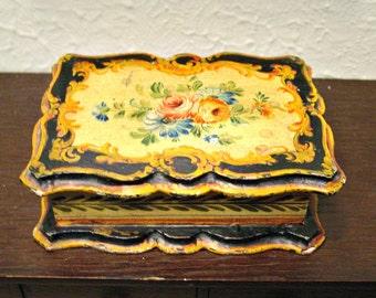 Florentine Style Floral Box - Vintage Wood Box - Jewelry Box - Tinket Box - Bohemian Style Home Decor