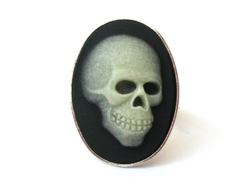 Glow in the Dark Skull Ring in Antiqued Silver Plate, Zombie Ring, Black Cameo Ring, Skeleton Ring