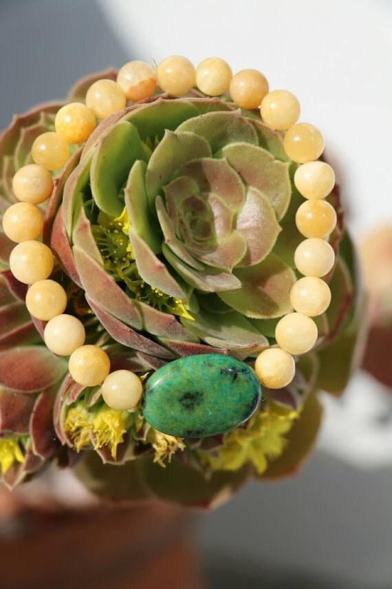 Yellow Jade with Turquoise Bracelet