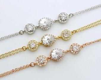 Crystal Bridal Bracelet, Wedding Jewelry, Teardrop Bracelet, Rose Gold Wedding Bracelet, Gold, Chain Bracelet, Alia