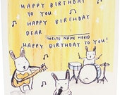Bunnies Band Birthday Card - An Original Illustration, 100% recycled, Handmade in Manchester, England