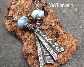 Blue African Opal Earrings, Dangle Earrings, Tribal Earrings, Invicti Charms, Earthy Jewelry by YaY Jewelry
