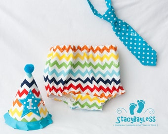 Chevron Cake Smash Outfit in Teal Accent - Custom Shirt - Party Hat - Diaper Cover - Necktie for Baby Boy First Birthday
