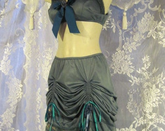 Silvered Blue Turquoise Mermaid bellydance two piece set with Giant Fancy Bow!