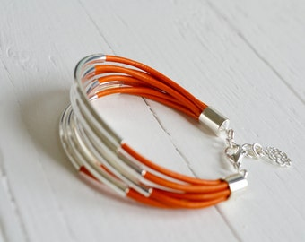 CLEARANCE  SALE  :  Orange Leather Cuff Bracelet with Silver Tubes - Multi Strand Bangle Women's Bracelet ... DISCONTINUED