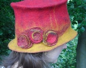 Felted Top Hat with Flowers - Red and Gold