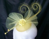 Primrose Lemon Yellow Curl Feather Crinoline  Crystal Matilda Wedding Fascinator Mini Hat  Custom Made to Order