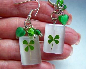 Clover Green Glass Dangle Earrings