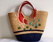 Straw fish beach bag
