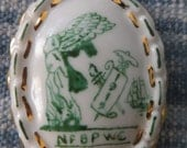 NFBPWC 1919  white porcelain gold trim  pendent  WOMEN'S Rights  SUFFRAGE Feminist   Movement  Weyhing Bros