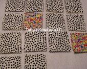 Scrappy Fabric Flash Cards/Memory Game Learning-School-Preschool-Black Dot backing.