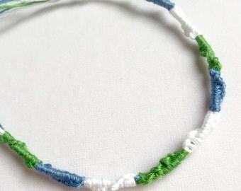 Handmade Friendship Bracelet Sky Blue Green White -Limited Edition Sale