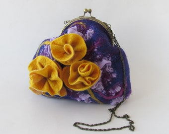 Flower purse fanny pack Felted purse handbag Small purse women bag crossbody bag flower purple yellow rose Christmas gift for her
