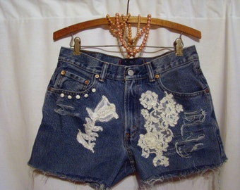Destination Wedding BrideWeekend Lace Pearl beaded Bridal buttons upcycled jeans frayed distresssed shorts  ANY SIZE
