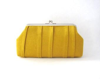Frame Clutch - bridesmaid clutch - mustard yellow pleated clutch purse