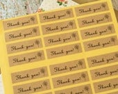 72pcs Kraft Paper THANK YOU with Flower printed gift craft baking sticker labels