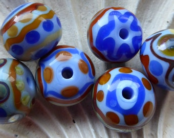 Destash Lampwork beads tribal organic blue brown southwest
