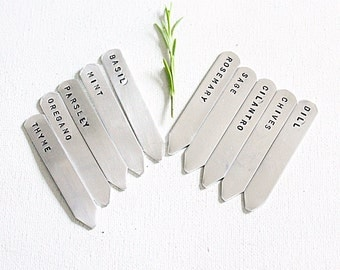 Five Petite Herb Markers - Patio Garden Markers Hand Stamped Aluminum