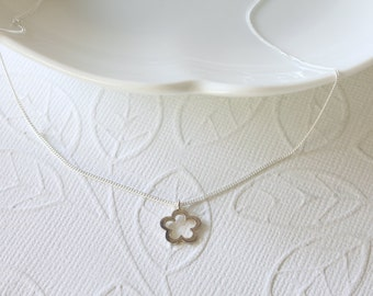 Silver Flower Necklace - Simple Necklace - Sterling Silver Flower - Celebrity Inspired - Dainty Necklace - Everyday Jewelry