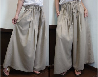 PLUS SIZE Azo Free Color Brownish Sand Cotton Mix Linen Super Wide Legs Casual Funky Boho Bell Bottom Pleated Pants With 2 Pockets