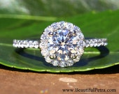 Ready to ship - Custom Reserved listing - 14k White gold - Diamond Engagement Ring - Halo - Pave - Weddings- Luxury- Brides -