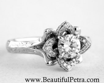 Engraved UNIQUE Flower Rose Lotus Blooming Diamond Engagement or Right Hand Ring - 1.00 carat - Fl09