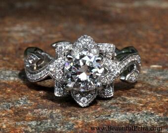 Custom listing - BLOOMING Work Of Art - Milgrain Flower Rose Lotus Diamond Engagement Ring - Semi Mount - Setting - fL07- Patented design