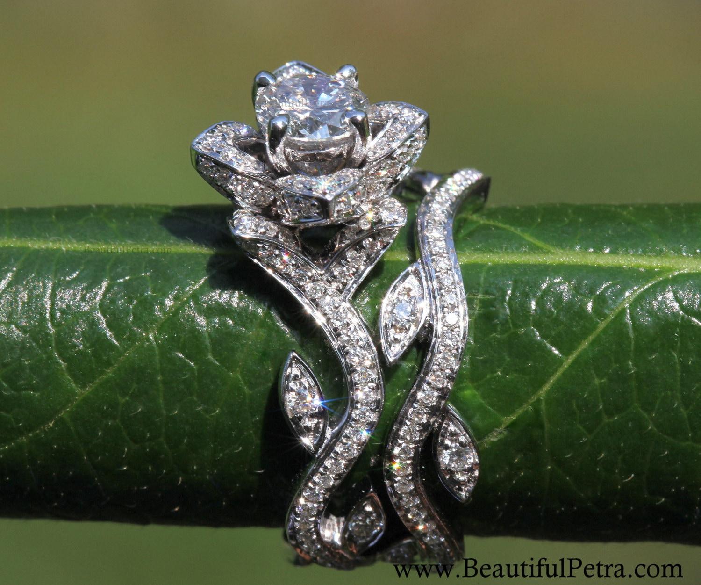 Blooming Work Of Art  Flower Rose Lotus Diamond Engagement Wedding Ring  Set  14k