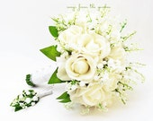 Lily of the Valley White Real Touch Roses Bridal Bouquet Groom Boutonniere Lace Royal Wedding Flower Package Silk Flower Bouquet
