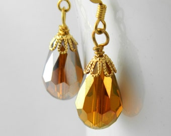 Gold Crystal Drop Earrings with Surgical Steel Ear Wires