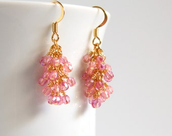 Pink and Gold Cascade Earrings with Surgical Steel Ear Wires