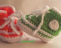 Baby Tennis Shoes, Green Booties or Orange , High Top Shoes , Baby Boy or Girl Crochet Booties, Baby Shower Gifts 3- 6 months