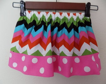 Girls Chevron and Polka Dot Skirt