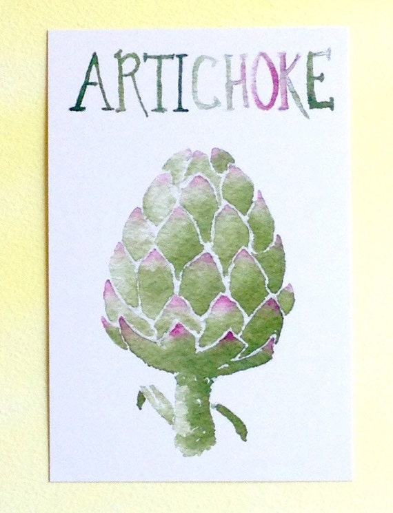 Three Artichoke Postcards, gardening quotation on back, 4 in x 6 in, silky smooth, gardener foodie gift