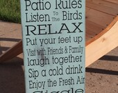 Patio Rules Sign CUSTOM Decor Deck sign Prorch decor Rustic Primitive Vintage Style  Typography Word Art Sign