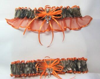 Real Tree Orange Camouflage wedding garters deer Camo garter Orange