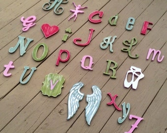 Handpainted Alphabet Full set of 26 wood letters Handcut and painted by KyGrace Designs