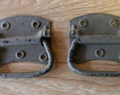 pair of vintage heavy duty iron tool box handles crafts, woodworking restore