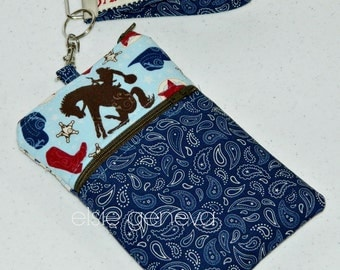 Horse Lovers Phone Case Western Cowgirl Paisley Blue & Red Wristlet with Zipper Closure iPhone 4 5 6 Plus Note Otterbox