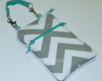 Gray White Chevron with Turquoise Aqua iPhone 5 6 Plus Phone Case with Leather Wristlet or Optional Shoulder Strap Zipper Top Closure