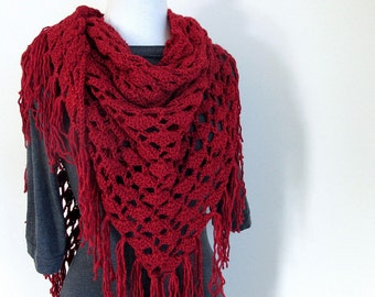 Red Knit Shawl - Red Winter Wrap - Triangle Shawl with Fringe - Large Red Shawl