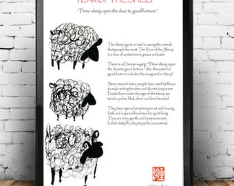 Three sheep, Chinese New Year of the Sheep, Chinese zodiac, Sheng Xiao, zen art print, zen decor poster for nursery art, childs room