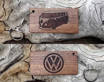 Handmade Laser Engraved Premium Caribbean Rosewood Key Chain - VW Bus - Kombi