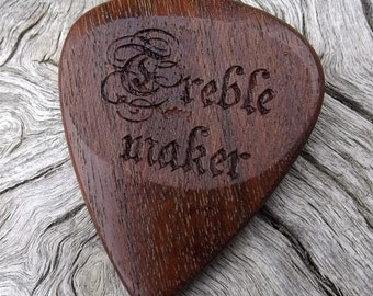 Handmade Premium Laser Engraved Wood Guitar Pick - Ipe (AKA Brazilian Walnut) - Actual Pick Shown - No Stock Photos