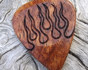 Handmade Wood Guitar Pick - Premium Quality - Afzelia Xylay Wood - Engraved On Each Side - Actual Pick Shown - Artisan Guitar Pick
