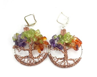 Four Seasons  Tree of Life Earrings Custom Made To Order Ships Priority 2 day USA