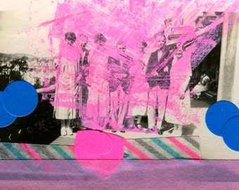 Mixed Media Collage Art Altered With Fluorescent Pink Color